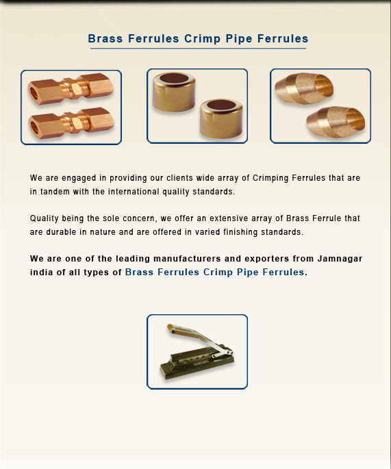 Brass Ferrules Crimp Pipe Ferrules